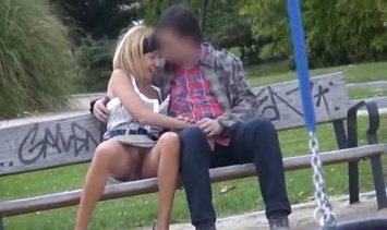 Blonde Voyeur in public at the park