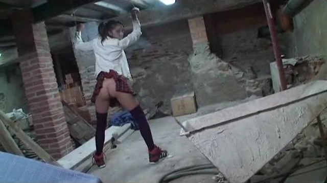 Crazy schoolgirl in BDSM and submission, public, blowjob!!!