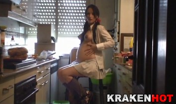 Big boobs pregnant young girl, blowjob and facial cum in the kitchen